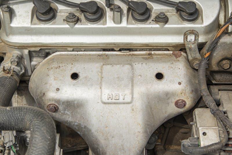 Aluminium engine heat shield for protection from hot.  royalty free stock photo