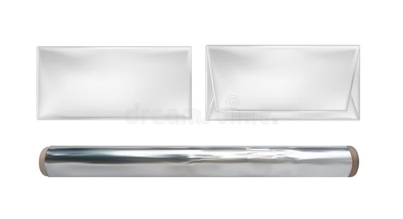 Aluminium et paquet vides blancs de petit pain pour les casse-croûte, la nourriture et le chocolat illustration de vecteur