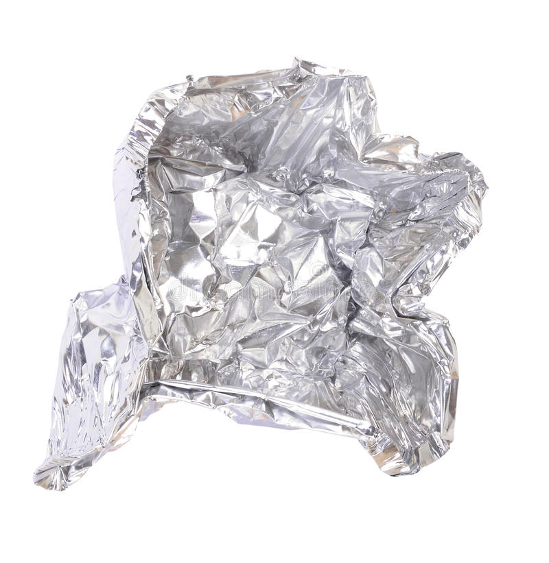 Aluminium foil. Crushed aluminum foil tray on isolated background stock images