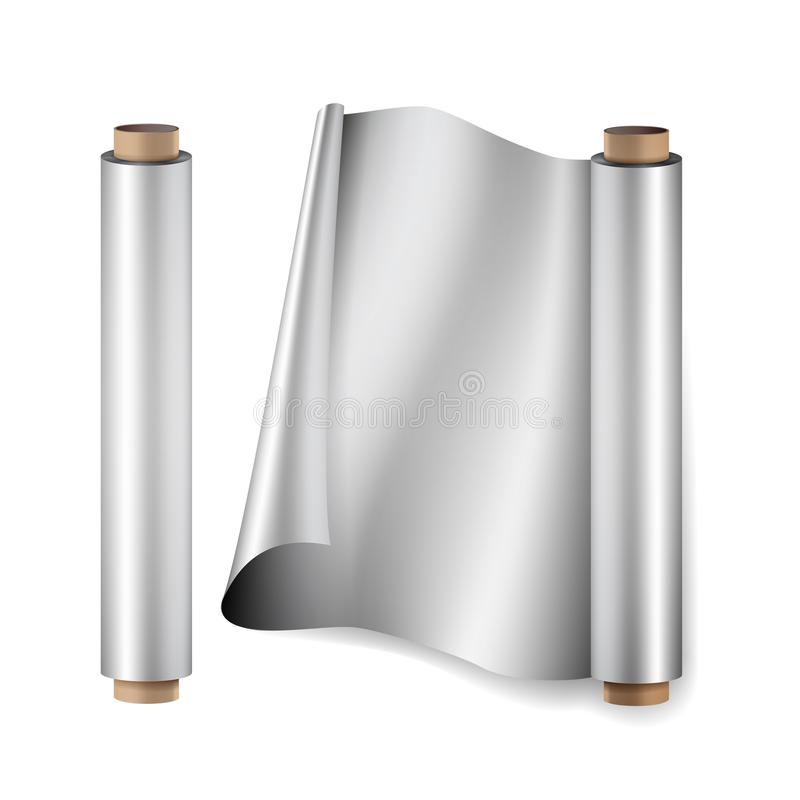 Aluminium Foil Roll Vector. Close Up Top View. Opened And Closed. Realistic Illustration Isolated On White. Aluminium Foil Roll Vector. Close Up Top View. Opened royalty free illustration