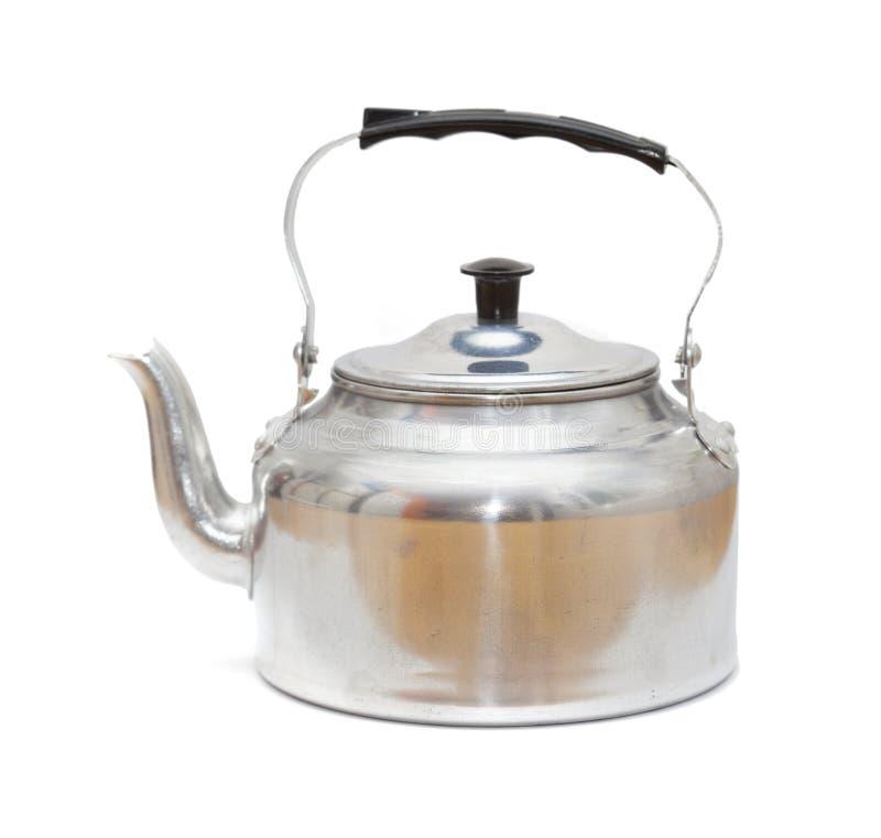 Aluminium kettle isolated. On white background royalty free stock image