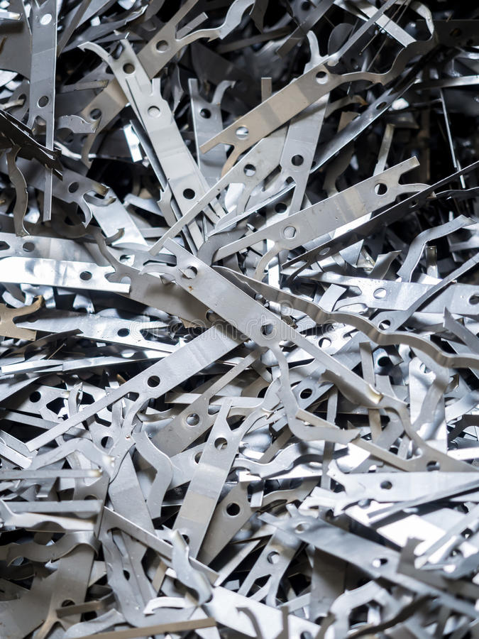 Aluminium and metal scrap pile in recycle factory royalty free stock image