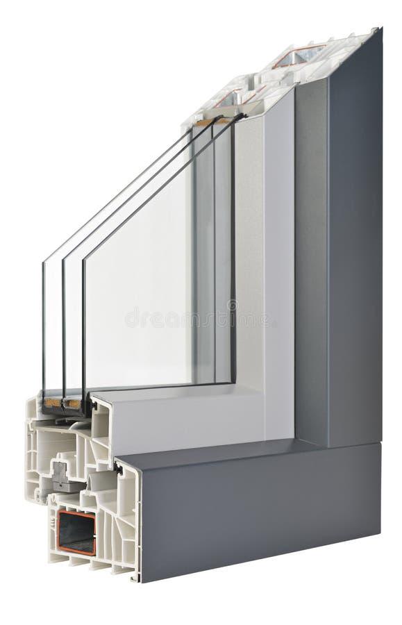 Aluminium/plast- fönsterprofil fotografering för bildbyråer