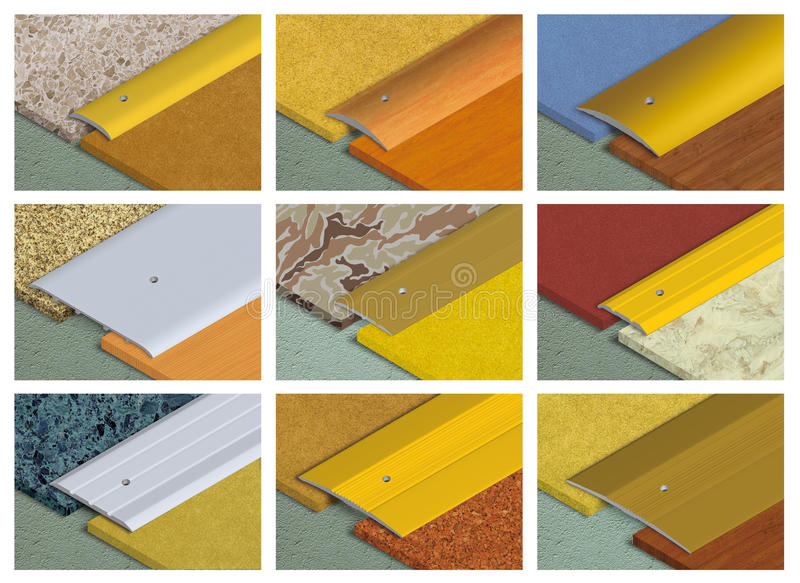 Aluminium profile for floor coverings royalty free stock image