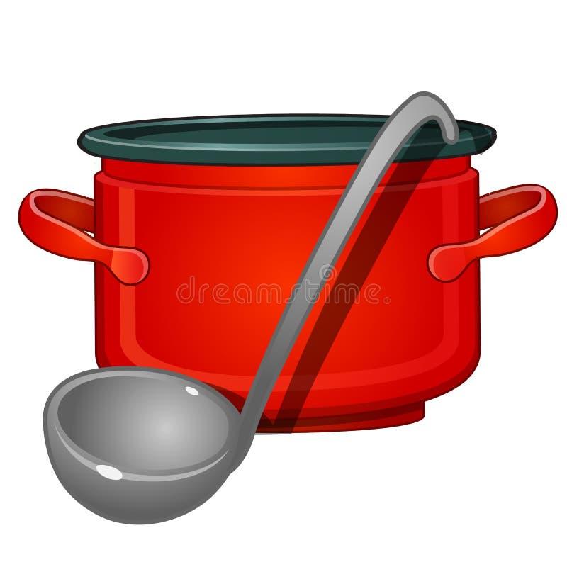 Aluminium rode pan en gietlepel Een steun in de vorm van een aardige eend Beeld in beeldverhaal op witte achtergrond wordt geïsol royalty-vrije illustratie