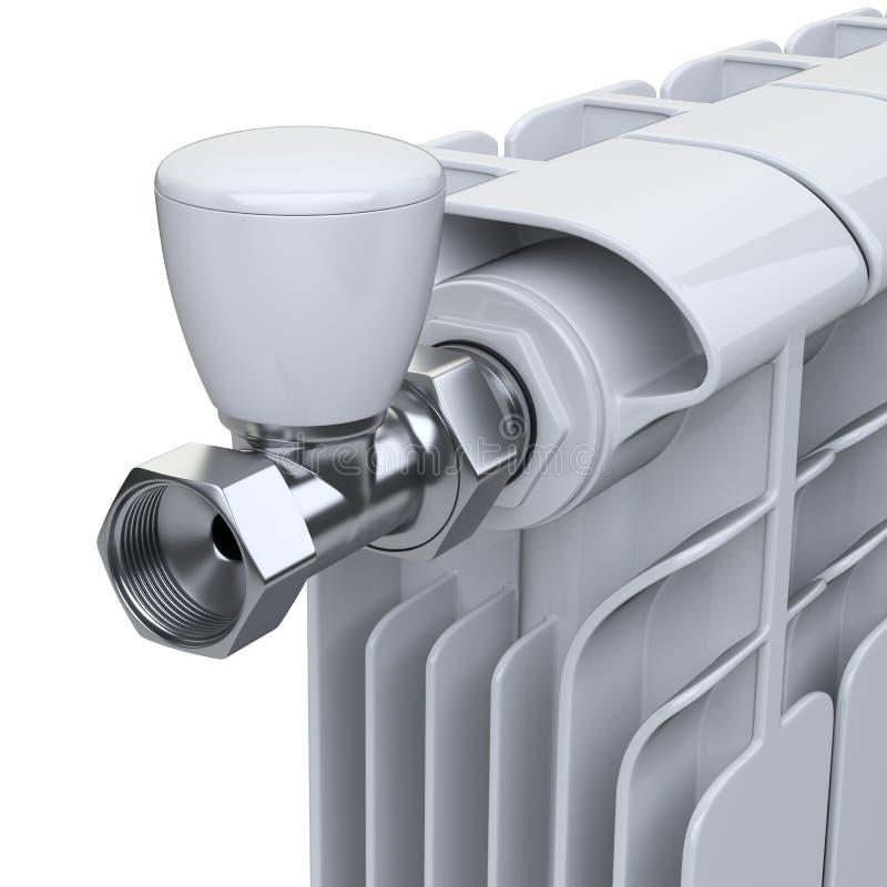 Aluminium som värmer elementet med flödesventilen med regulatorn för, lurar royaltyfri illustrationer