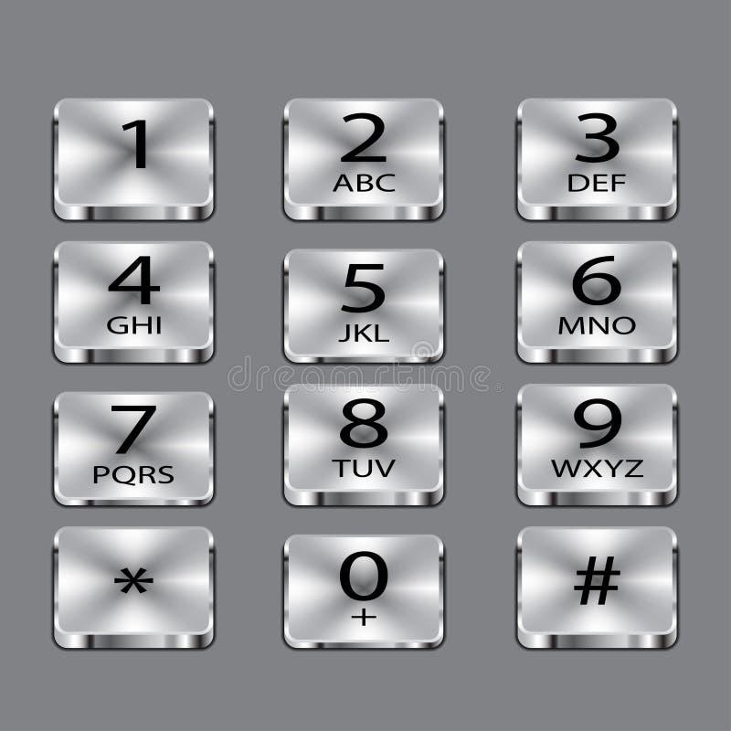 Aluminium telefonfyrkantknappar på grå bakgrund vektor illustrationer