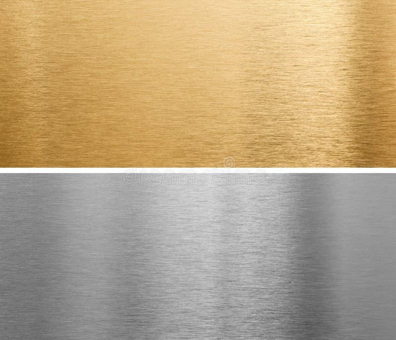 Aluminium- und Messingmetallplatten lizenzfreies stockbild