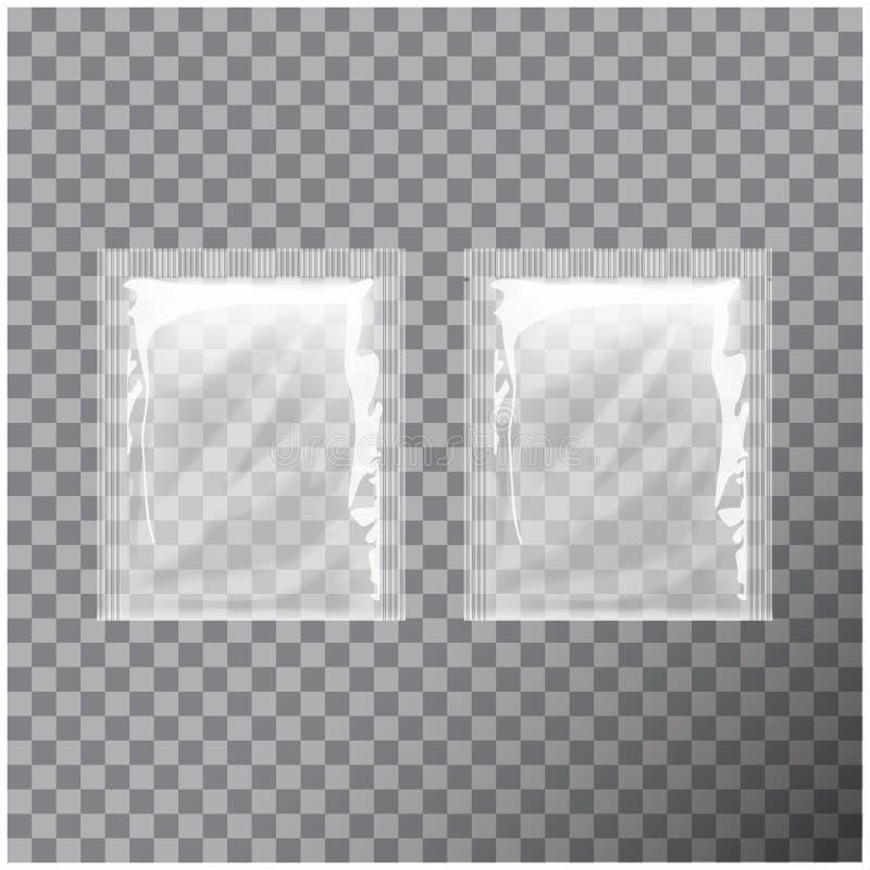 Aluminium vide transparent d'emballage de calibre Le café d'emballage de nourriture, sel, sucre, poivre, épices, bonbons, a mouil illustration stock