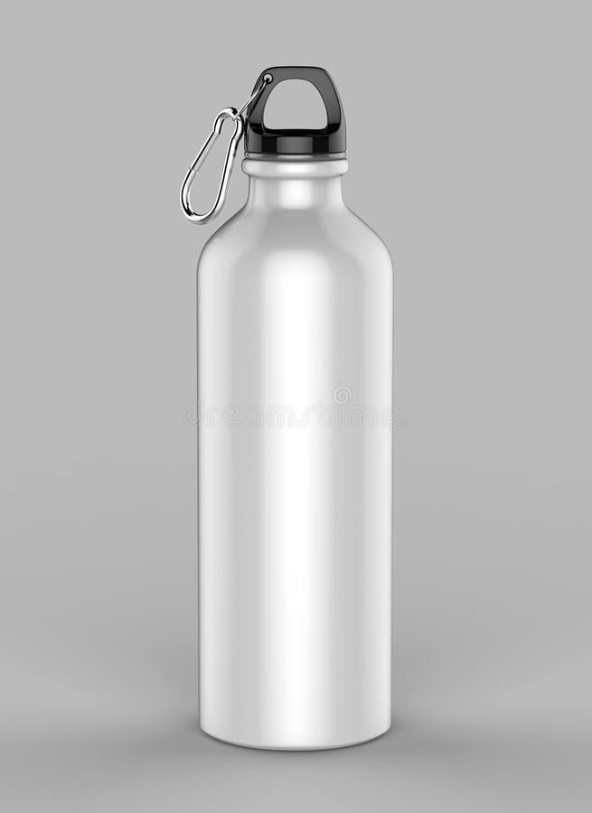 Aluminium vit skinande sipperflaska för övre åtlöje och malldesign illustrationen 3d framför royaltyfria bilder