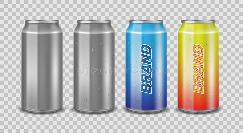 Aluminiumburk som är tom och med etiketten Realistiskt kunna med vattendroppar för den isolerade öl-, fruktsaft- eller energidrin vektor illustrationer