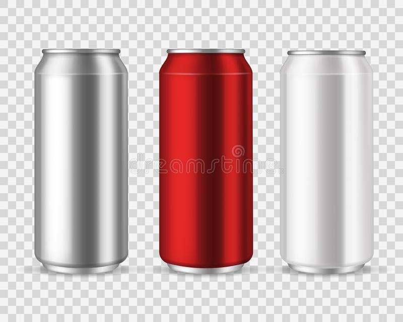 Aluminiumdosen Leere Metalldosengetr?nke, Getr?nkewassersodabierlimonaden-Energiegetr?nk, silberner leerer Glasvektorsatz lizenzfreie abbildung