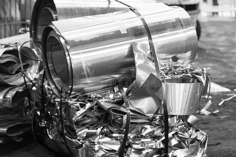 Aluminiumfolieschroot royalty-vrije stock foto
