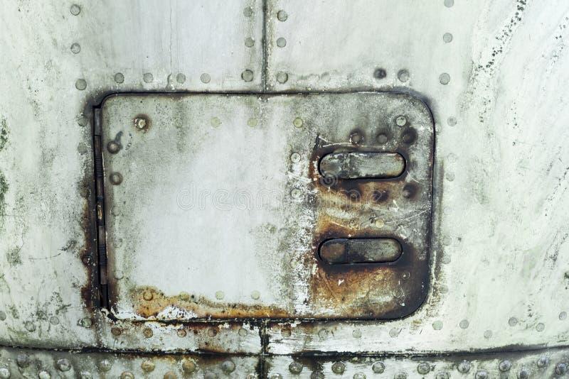 Aluminiumoppervlakte van de vliegtuigenfuselage royalty-vrije stock foto