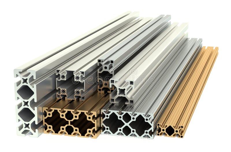 Aluminiumprofiler och kopparprofiler royaltyfri illustrationer