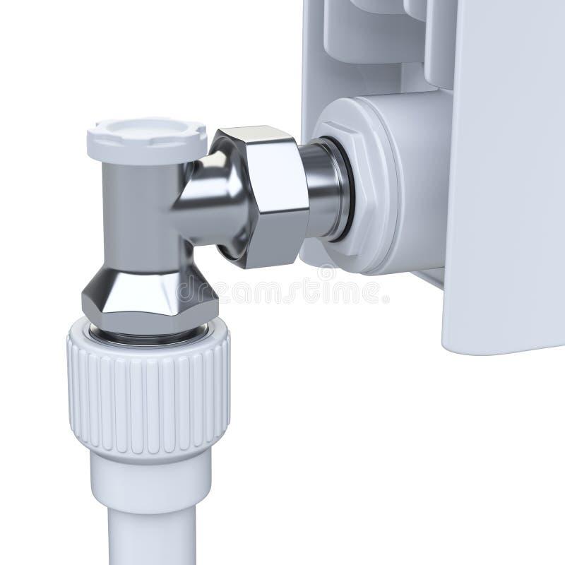 Aluminiumuppvärmningelement med kontrollventilen med regulatorn för Co vektor illustrationer