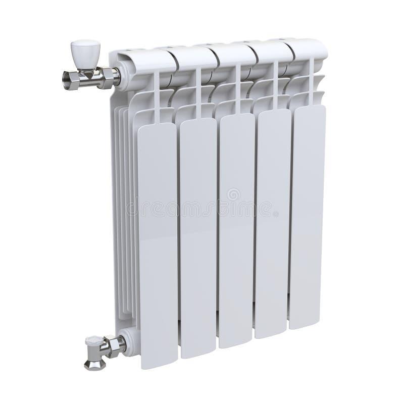 Aluminiumuppvärmningelement med ventiler för anslutning stock illustrationer