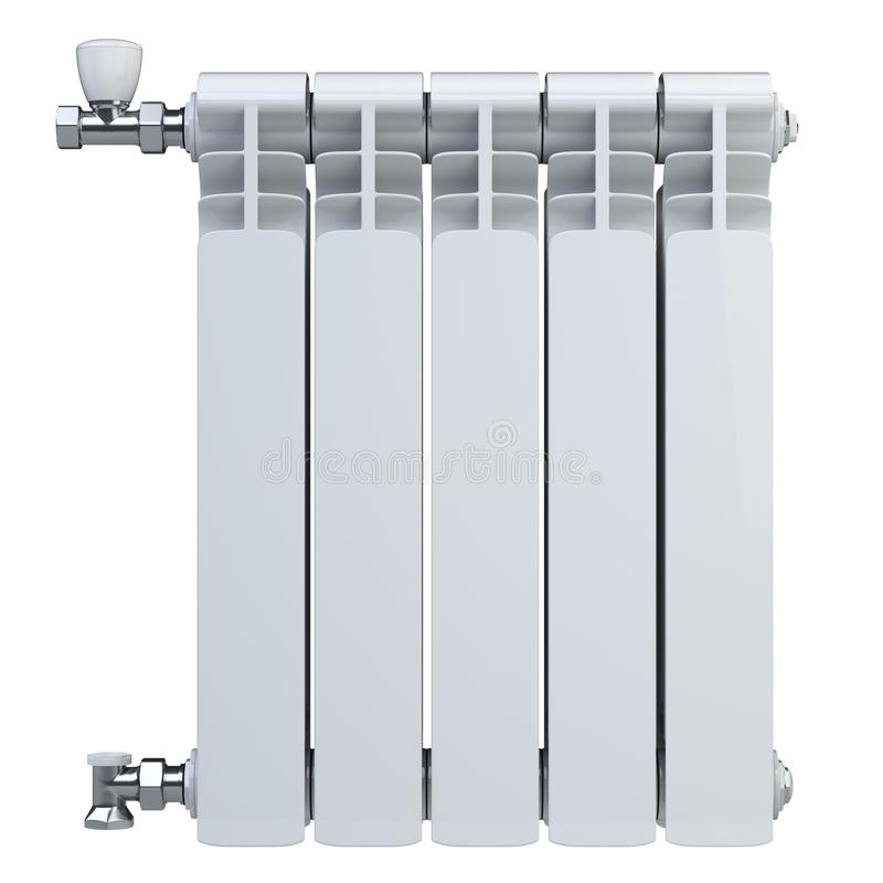 Aluminiumuppvärmningelement med ventiler för anslutning Bekläda beskådar bakgrund isolerad white stock illustrationer