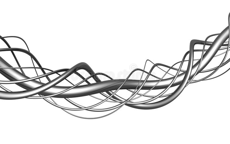 Aluminum abstract string artwork background. Aluminum abstract string artwork isolated background 3d illustration stock illustration