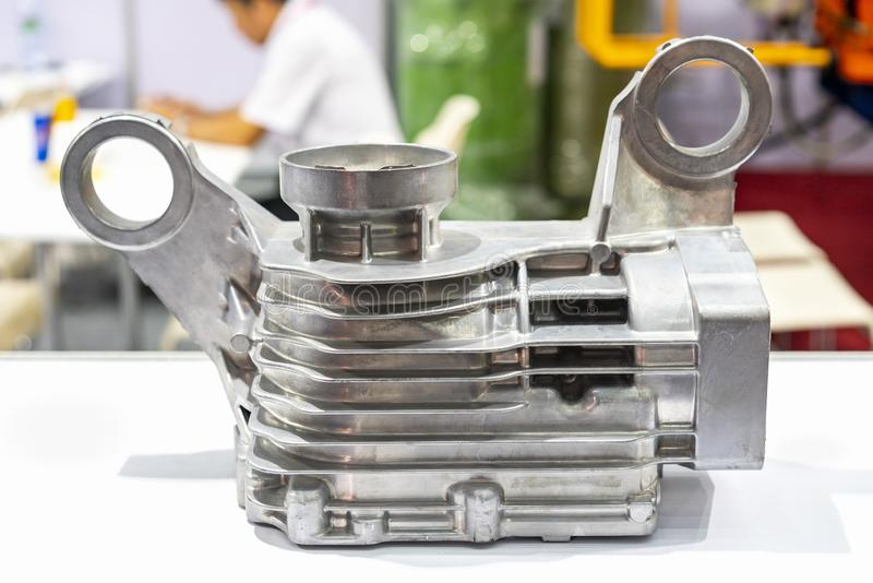 Aluminum alloy body or head cylinder for engine part of automobile vehicle or Lawn mower before machining made from high pressure stock photography