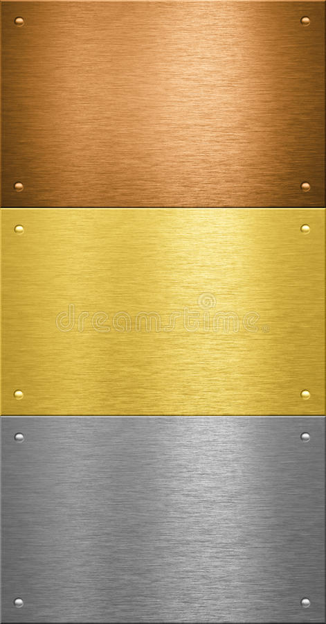 Free Aluminum And Brass Metal Plates With Rivets Royalty Free Stock Photo - 17451315