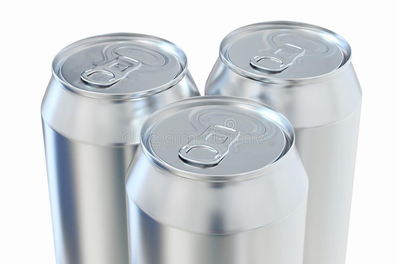 Aluminum beer cans. Over white background royalty free illustration