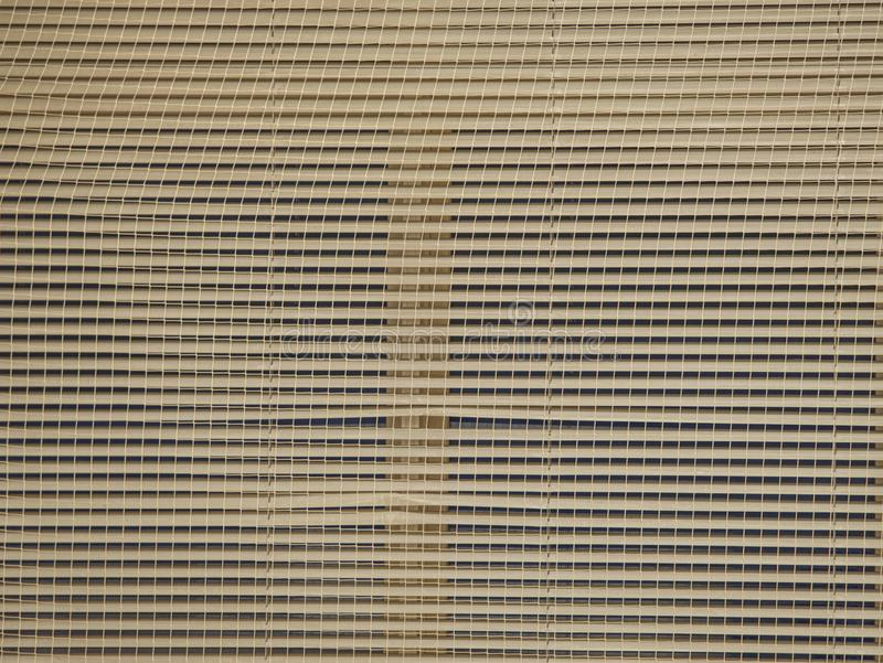 Aluminum blinds covered with secure net on dark background. Of night. Sporty gymnasium room, wooden, window, white, wall, view, vertical, textured, sun-blinds royalty free stock photos