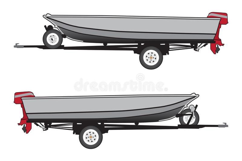Aluminum Boat on Trailer stock illustration