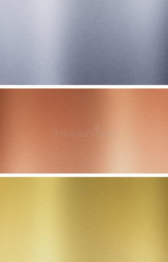 Aluminum, bronze and brass textures stock photo