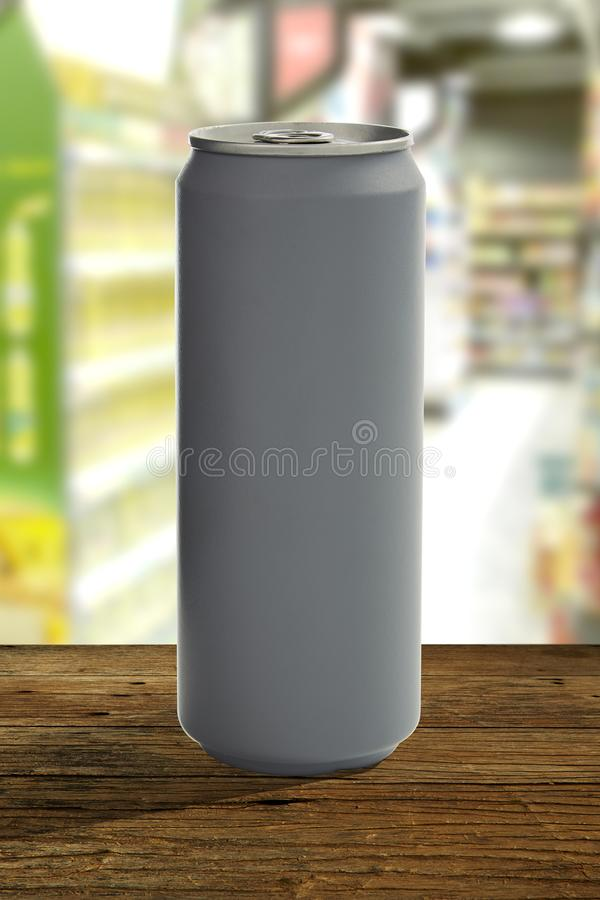 Aluminum can mockup isolated on wooden table royalty free stock photos