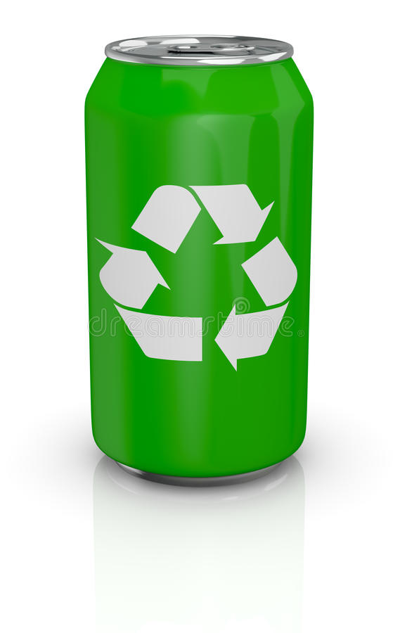 Aluminum can with recycling symbol royalty free illustration