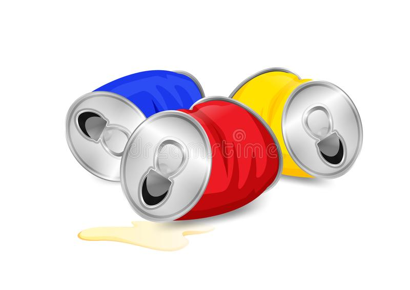 Aluminum canned waste, canned garbage waste red blue and yellow colors  on white background, used cans illustration vector illustration