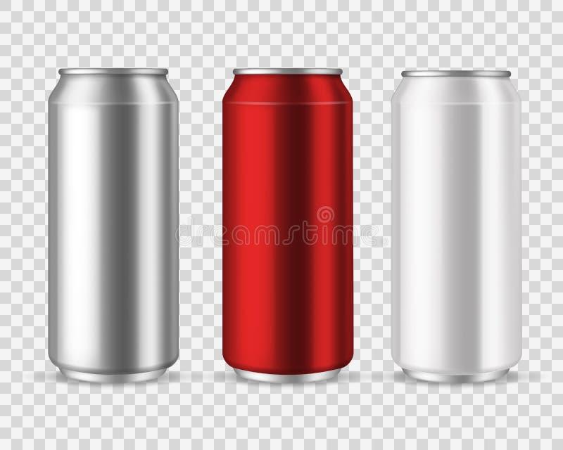 Aluminum cans. Blank metal can drinks, beverage water soda beer lemonade energy drink, silver empty jar vector set royalty free illustration