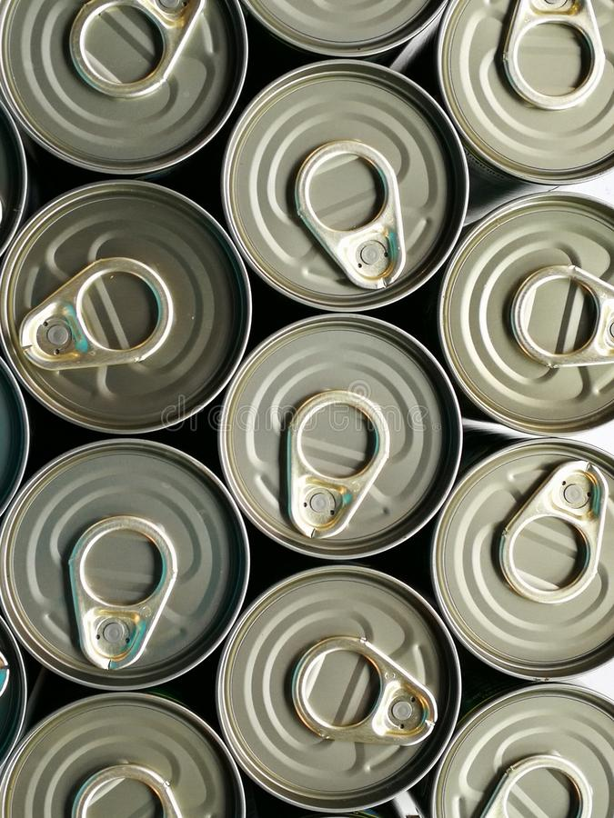 Aluminum cans with keys close-up,Pattern from much of drinking cans of beer stock images