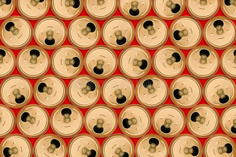 Aluminum cans for recycling on a red background. Beer empty cans. Recycling of metal and waste. Abstract background stock photos