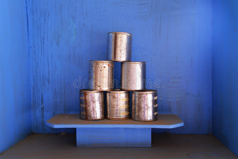 Aluminum cans. With rust  stacked stock image