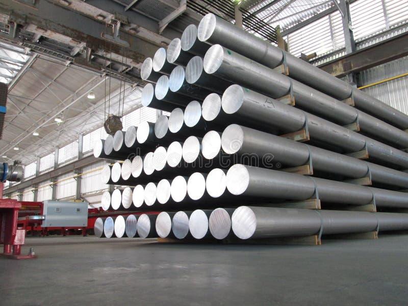 Aluminum cylinders stock image