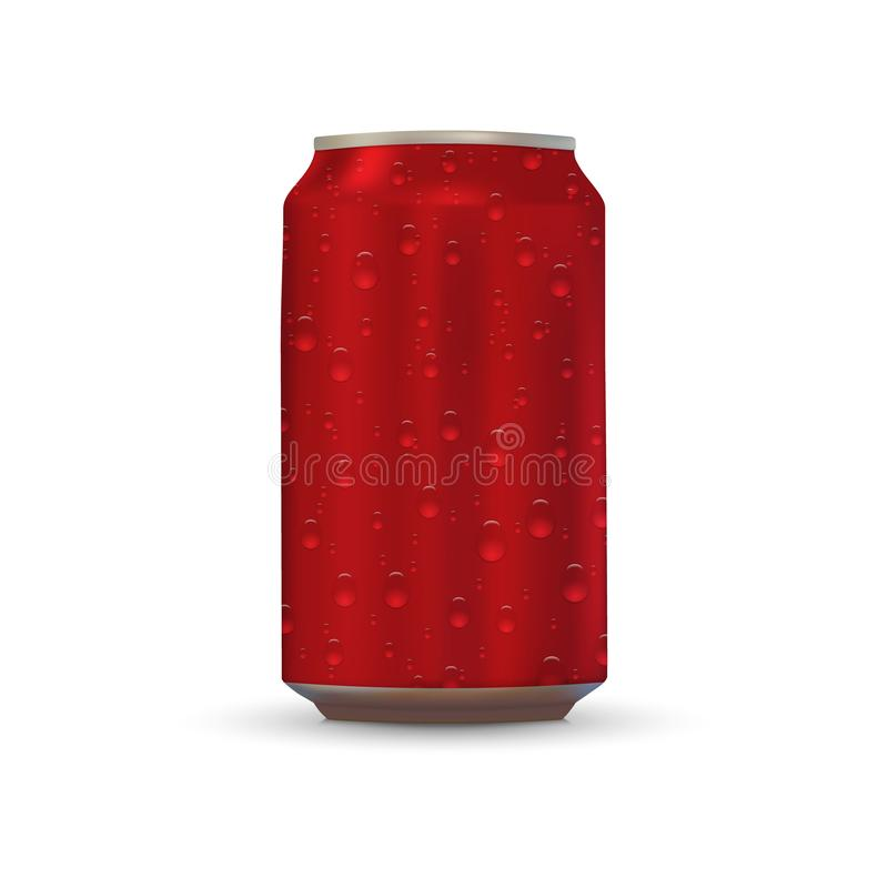 Aluminum drink can. With fresh water drops royalty free stock photography