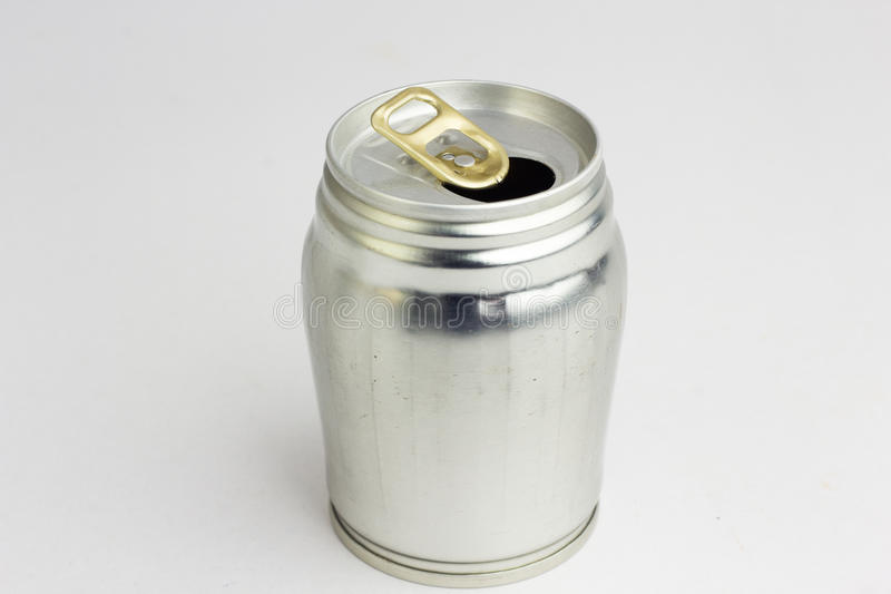 Aluminum drink can template for milk or juice design,Steel cans. On a white background royalty free stock photos