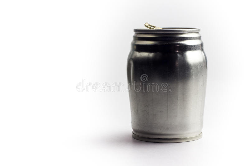 Aluminum drink can template for milk or juice design,Steel cans. On a white background stock image