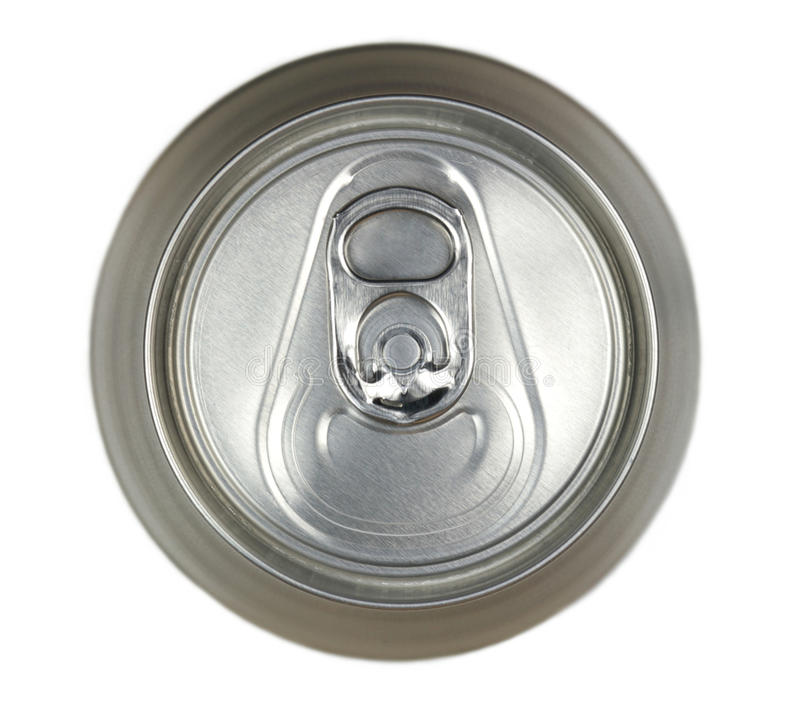 Aluminum drink can, top view royalty free stock photos