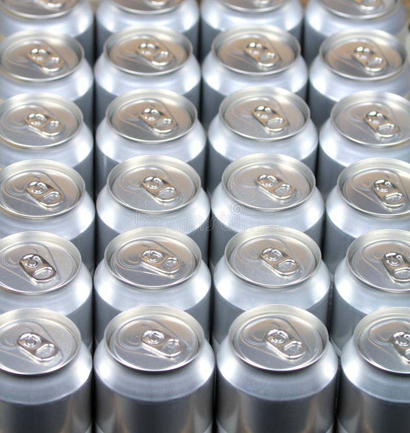 Aluminum drink cans stock photography