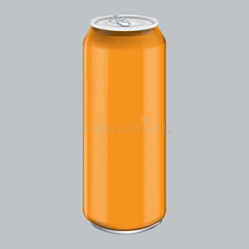 Aluminum dryckdrink för orange metall Modell för att förpacka för produkt Den driftiga drinken kan 500ml, 0,5L royaltyfri illustrationer