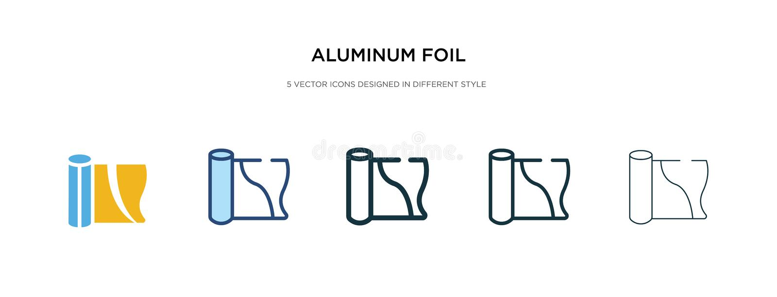 Aluminum foil icon in different style vector illustration. two colored and black aluminum foil vector icons designed in filled,. Outline, line and stroke style vector illustration