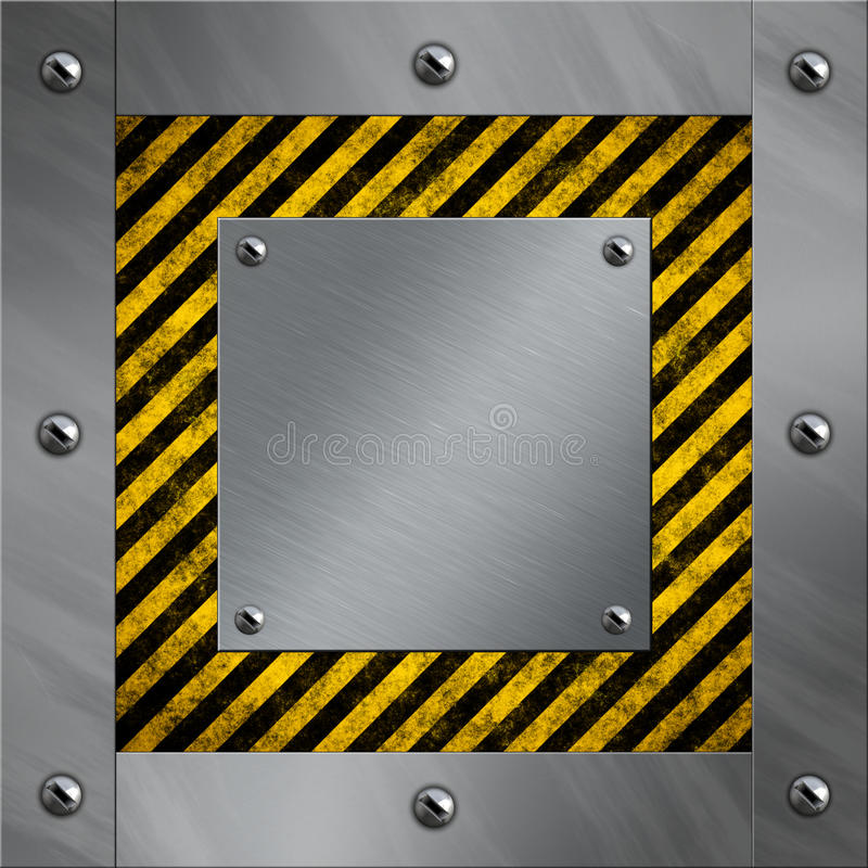 Aluminum frame and warning stripes vector illustration