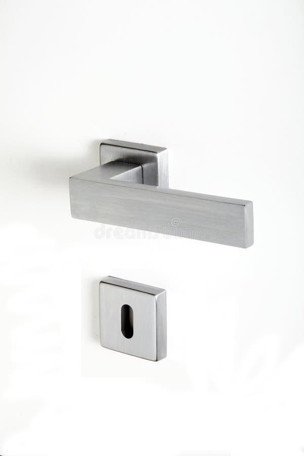 Aluminum handle with lock on white background. Aluminum handle with lock on a white background stock photo