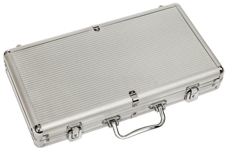 Aluminum Hard Suitcase Isolated On White Background royalty free stock photos