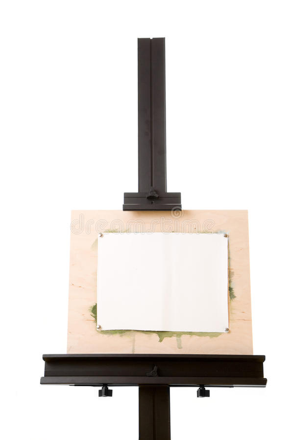 Aluminum painter's easel isolated on white royalty free stock image