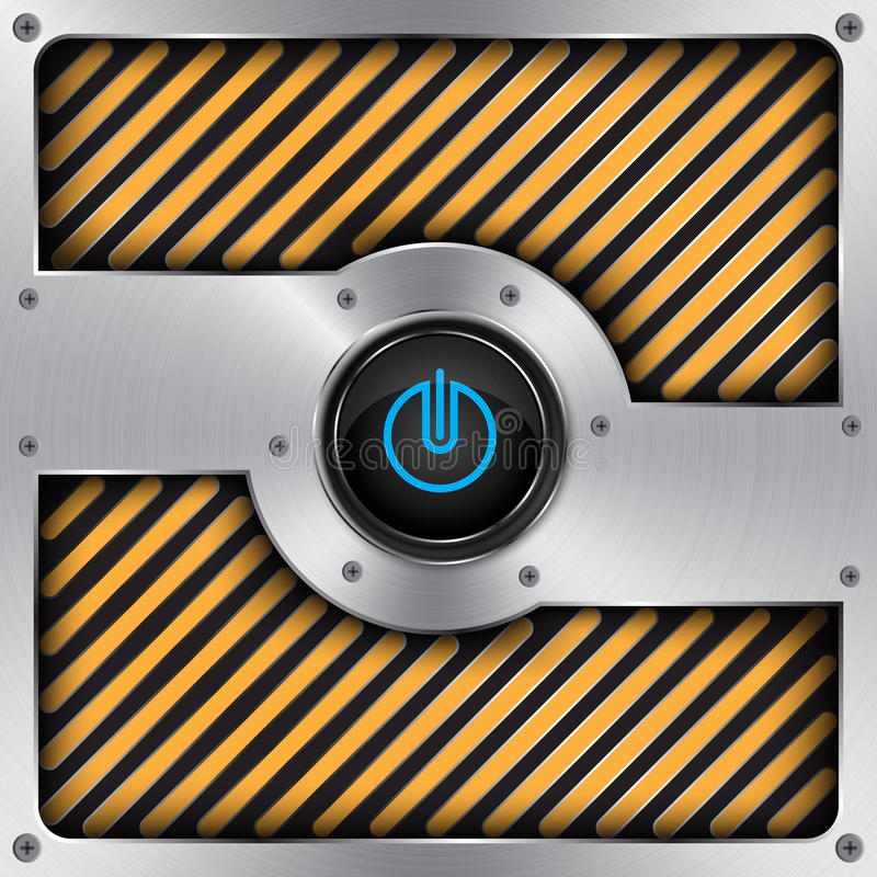 aluminum power button,technology background royalty free illustration