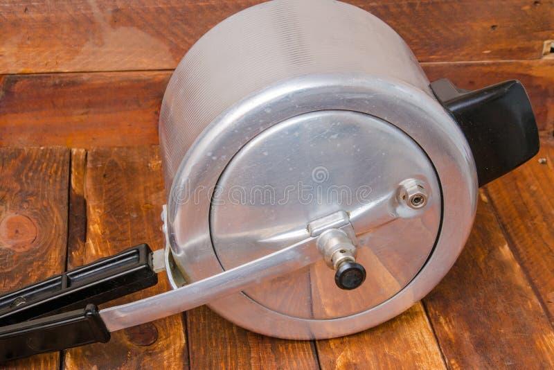 Aluminum pressure cooker stock image